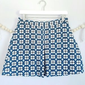 Zara | Teal Floral Mini Skirt | Medium EUC Pleat